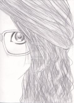 Cute drawing of a girl with glasses (Me but also not me)