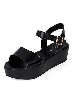 4130278fa51 Image 1 of ASOS JUMP Leather Flatform Sandals  PlatformSandals ...
