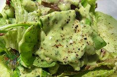 Creamy Basil Avocado Salad Dressing~ 1 ripe avocado 1/4 cup olive oil 1 lime or 1/2 lemon, juiced 1/2 clove garlic, pressed 1/4 cup water Generous bunch fresh basil Salt and pepper