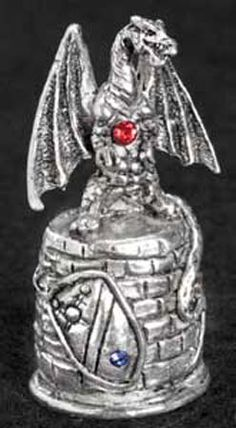 winged dragon pewter thimble