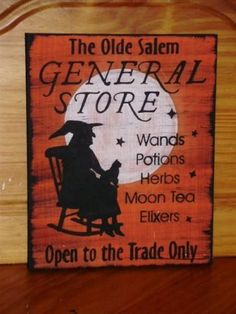 Primitive Witch Signs Olde Salem General Store Primitives Witches Sign Halloween Decorations witchcraft black cats whimsical by SleepyHollowPrims, $25.20 USD