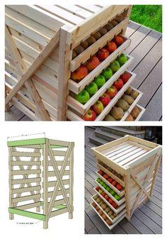 """Love this little produce """"dresser"""" slatted shelves make for fresher produce and…"""