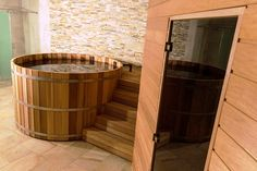 spa bathroom with sauna and plunge pool