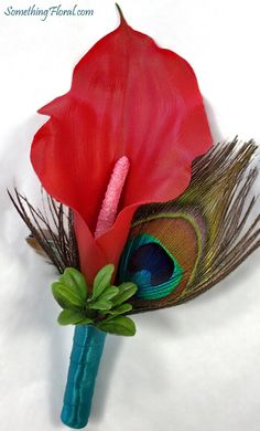 Realistic, artificial floral, red calla lily and peacock feather boutonniere with a teal ribbon stem wrap. #calla #lily #boutonniere #peacock #feather #feathers #red #teal