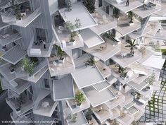 This Amazing High-Rise Apartment Building Looks Like A Giant Tree.  Each apartment has up to 3 balconies.