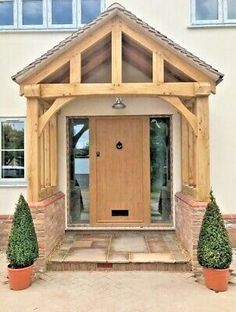 Oak Porch - With Curved Front Beam - Bespoke designs & sizes made - Any design Cottage Front Doors, Oak Front Door, Wooden Front Doors, Porch Wooden, Country Front Door, Porch Extension, House Extension Design, Cottage Extension, Porch Uk