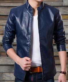 Vintage bleu hommes veste en cuir manteau de tissu par Vimanshow
