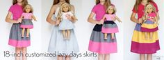 Make some adorable matching doll customized Oliver + S Lazy Days Skirts! Make some adorable matching doll customized Oliver + S Lazy Days Skirts! Sewing Doll Clothes, Sewing Dolls, Girl Doll Clothes, Doll Clothes Patterns, Barbie Clothes, Doll Patterns, Clothing Patterns, Ag Dolls, Girl Dolls