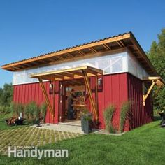 Garage Idea....Not the size, but the shape, angles on front & back side Red-Hot Workshop Illustrations, Details and Materials List: The Family Handyman
