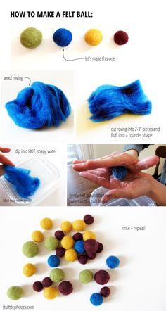 how to make felted balls :: stuff steph does{make stuff} Felt Balls for a kool mobile or somethingFrom: Make Stuff - Felt Balls these would be great to make so you can create a personalized area rug.How to deal with a bipolar personTurquoise Necklace Unco Yarn Crafts, Felt Crafts, Fabric Crafts, Diy Crafts, Felted Wool Crafts, Crafts For Kids, Arts And Crafts, Felt Diy, Wet Felting