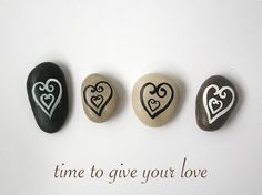 Time to Give Your Love, Beach Pebbles with Magnets, Heart, Unique Gifts for Family and Friends, from HappyEmotions, Sea Stones, Rocks.  via Etsy.
