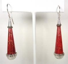 STERLING SILVER NAUTICAL MAUI RED SPONGE CORAL SHELL DANGLING SEA LIFE EARRINGS