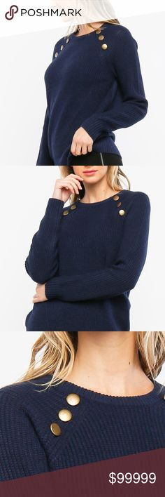 🔥Just In! Navy Crew Neck Sweater w/ Buttons Just In! New pictures coming soon!!!  Long sleeve crew neck sweater w/ shoulder buttons. 100% ACRYLIC  SWEATER & KNIT Pearl & Berry Sweaters Crew & Scoop Necks