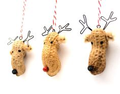 3 Mini Christmas Ornaments - whimsical painted reindeer peanuts, reindeer ornaments. $16,50, via Etsy.