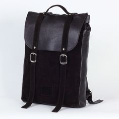 Dark brown medium sized leather backpack / To order