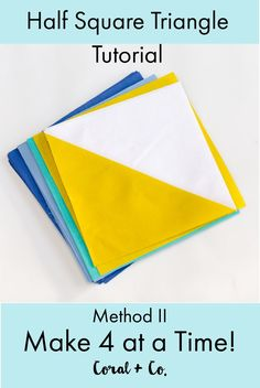 Sewing Block Quilts Half Square Triangle Quilt Block Tutorial Method II - Makes 4 at one time! Coral Co. Here is how to make Half Square Triangles the simple way. Quilting Tips, Quilting Tutorials, Quilting Projects, Beginner Quilting, Modern Quilting, Triangle Quilt Tutorials, Sewing Patterns Free, Quilt Patterns, Block Patterns