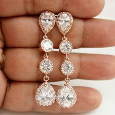 Bridal Earrings ROSE GOLD Wedding Jewelry Wedding by poetryjewelry, $50.00
