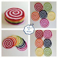 Posavasos en Espiral Spiral Crochet, Crochet Motif, Crochet Designs, Crochet Doilies, Crochet Flowers, Crochet Stitches, Knit Crochet, Crochet Patterns, Crochet Gifts