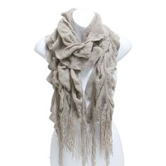 Winter Knit Ruffle Beige Scarf With Fringe