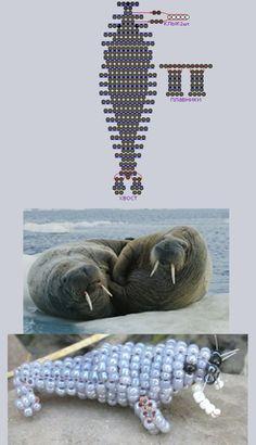 Фотография схемы плетения из бисера - морж.