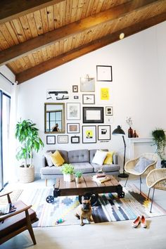 Living room with wooden ceiling