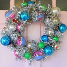 Vintage Ornament Tinsel Wreath...so retro, sparkly and just pretty!