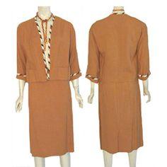 Vintage 1960s Linen Skirt and Jacket Dress Suit #Unbranded
