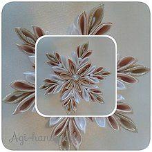 Dekorácie - vianočná vločka kanzashi - 7347854_