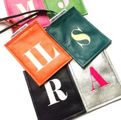 Personalized monogrammed leather luggage tags   This travel accessory must-have is available in a wide selection of color combinations.  A perfect destination wedding gift or honeymoon gift or for anyone traveling.