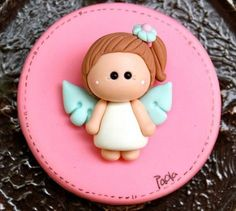 Angel First Communion Party Favor or gum paste decoration Polymer Clay Dolls, Polymer Clay Charms, Polymer Clay Creations, Communion Party Favors, First Communion Party, Jumping Clay, Fondant Toppers, Clay Ornaments, Pasta Flexible