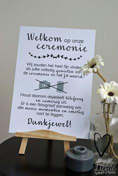 Geen foto's tijdens ceremonie / Dont's | Wouter & Mirjam