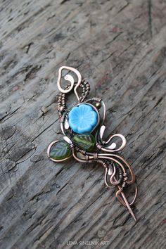 Wire Brooch , Flowers brooch, copper brooch, Wire jewelry, blue brooch, brooch…