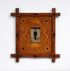 Folk Marquetry Frame with Inset Animals and Tintype