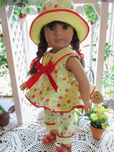 Sailor Doll Outfit to fit your American Girl Doll with Capris and Doll Hat in Vintage Yellow Print by on Etsy American Doll Clothes, Ag Doll Clothes, Clothes Crafts, Doll Clothes Patterns, American Dolls, Doll Patterns, Scene Outfits, Sewing Dolls, Girl Dolls