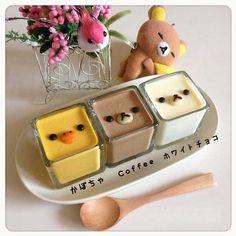 Rilakkuma and friends dessert - Sanrio kawaii food Japanese Sweets, Japanese Cake, Japanese Pudding, Japanese Food Art, Desserts Japonais, Cute Baking, Kawaii Dessert, Cute Desserts, Cafe Food