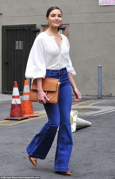 Olivia Culpo does breakfast in Los Angeles in flared denim - March 2018
