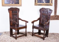Rare pair of oak carved and inlaid Yorkshire armchairs, circa 1660 -1680. Marhamchurch antiques