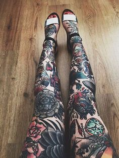 Colorful tattoos Legs and Tattoos and body art on Pinterest