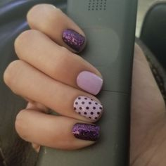 Color Street nail strips are easy to use and last days. Try this look with Fashion Prague-er, Polka-Dot-Com and Ibiza Nights Short Nail Designs, Colorful Nail Designs, Purple Nail Designs, Nail Color Combos, Nail Colors, Love Nails, How To Do Nails, Cute Gel Nails, Nagellack Design