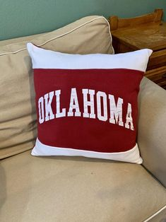 This University of Oklahoma recycled sweatshirt pillow is the perfect gift for a graduate, student, or alumni! This also makes a great gift for the student who has decided to attend Oklahoma to become a Sooner. Student Christmas Gifts, College Student Gifts, College Students, Northern Arizona University, University Of Oklahoma, Oklahoma Colleges, Dorm Pillows, College Dorm Decorations, Fabric Bags
