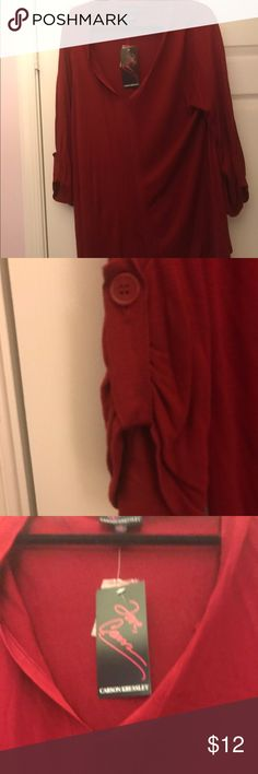 NWT Deep Red Soft Light Sweater w/ Ruffled Sleeves I love this deep crimson color and soft feel of this NWT sweater.  Also has a touch of something in its ruffled sleeve (as seen in pic 2) Love, Carson by Carson Cressley Sweaters V-Necks