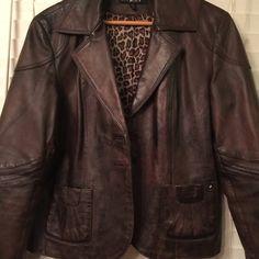 Leather blazer brownish black Mottled Brownish- black ,button front  blazer. Two pockets .animal print lining. XL Black rivet Jackets & Coats Blazers