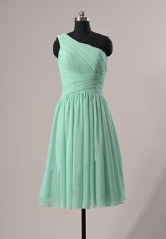 One Shoulder Bridesmaid Dress Dark Mint Chiffon One by 7thprincess, $89.00