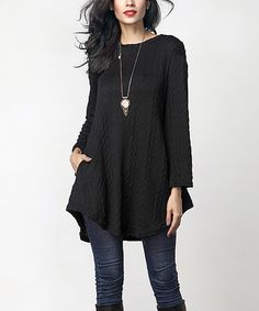 Look at this Black Cable Knit Side-Pocket Tunic on #zulily today!