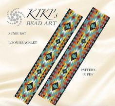 Bead loom pattern, Sunburst, ethnic style LOOM bracelet cuff pattern in PDF - instant download