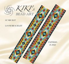 Bead loom pattern Sunburst ethnic style LOOM bracelet cuff