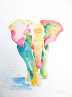 ideas for painting elephant abstract Image Elephant, Elephant Love, Elephant Art, Elephant Tattoos, Watercolor Art Diy, Watercolor Animals, Watercolor Paintings, Rainbow Painting, Animal Sketches