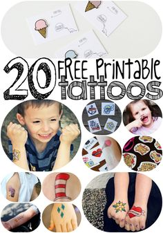 20 Free Printable Cool-Kid Temporary Tattoos