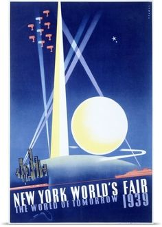 Poster Print Wall Art Print entitled Worlds Fair, New York, 1939,Vintage Poster, None