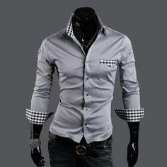 @everbuying  $17.76 New Arrival Slim Checked Design Long Sleeves Multicolor Cotton Shirt For Men #gifts